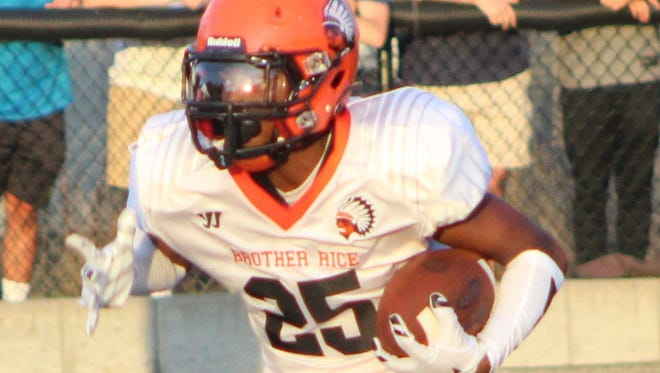 Juniorr Caleb Jackson scored one of Brother Rice's five touchdowns in Friday's victory over Warren Cousino.
