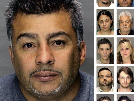 Police busted a drug ring they say was led by Julio Aviles Sr., pictured left. Ten others were charged. First row: Julio Aviles Jr., left, and Israel Nazario, right; second row: Suheidy Sota, left, and Carlos Nazario, right; third row: Michael Millan-Miranda, left, and Brittany Rivera, right; fourth row: Leandro Nazario, left, and Brent Moyer, right; and fifth row: Geidy Arroyo, left, and Brenda Sota, right.