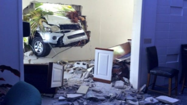 The scene at The Salvation Church where a car crashed into the building, Saturday morning.
