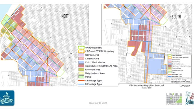 The proposed from-based code map for downtown Fort Smith is seen. Central Business Improvement District commissioners on Tuesday voted to recommend the code to the city.