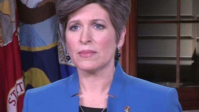 Sen. Joni Ernst, R-Ia., delivers the Republican response to the State of the Union address.