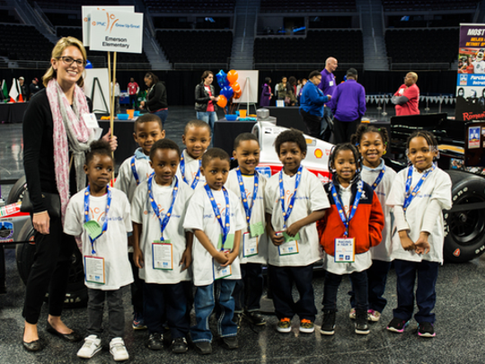 Students from Emerson Elementary School in Detroit attend the PNC Grand Prix Racing Fair at the Palace on May 4.