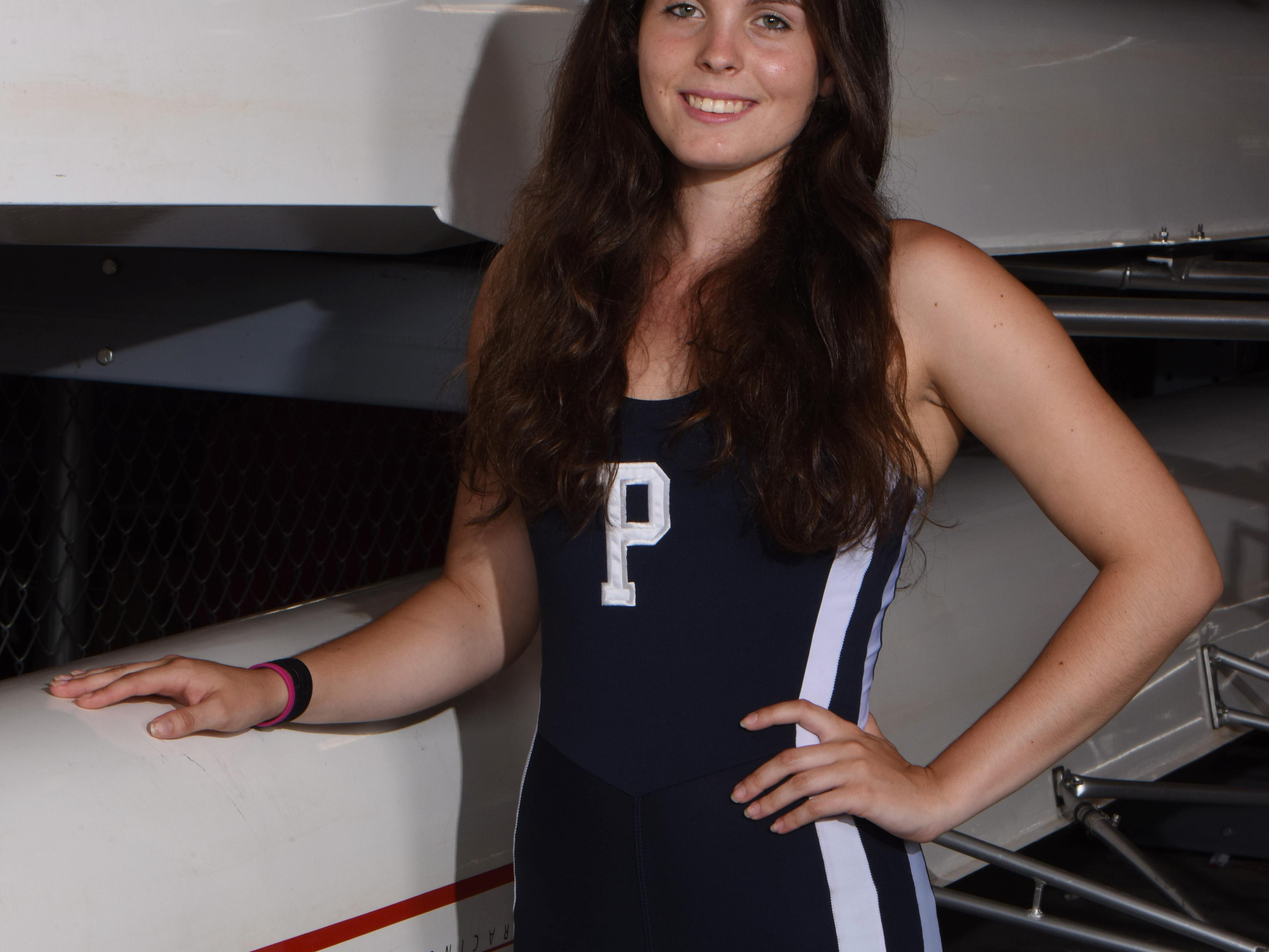 The Poughkeepsie High School lightweight quad boat member, second seat Anna O'Shea at the Hudson River Rowing Association boat house in Poughkeepsie on Thursday.