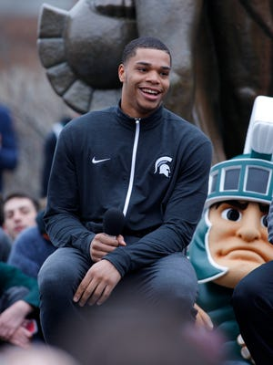 Michigan State's Miles Bridges announces his return to school for his sophomore season Thursday, April 13, 2017 in East Lansing.