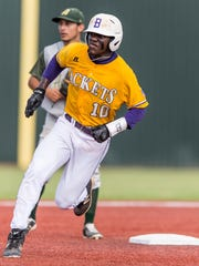 Byrd's Zavier Moore rounds second base during Friday's game.