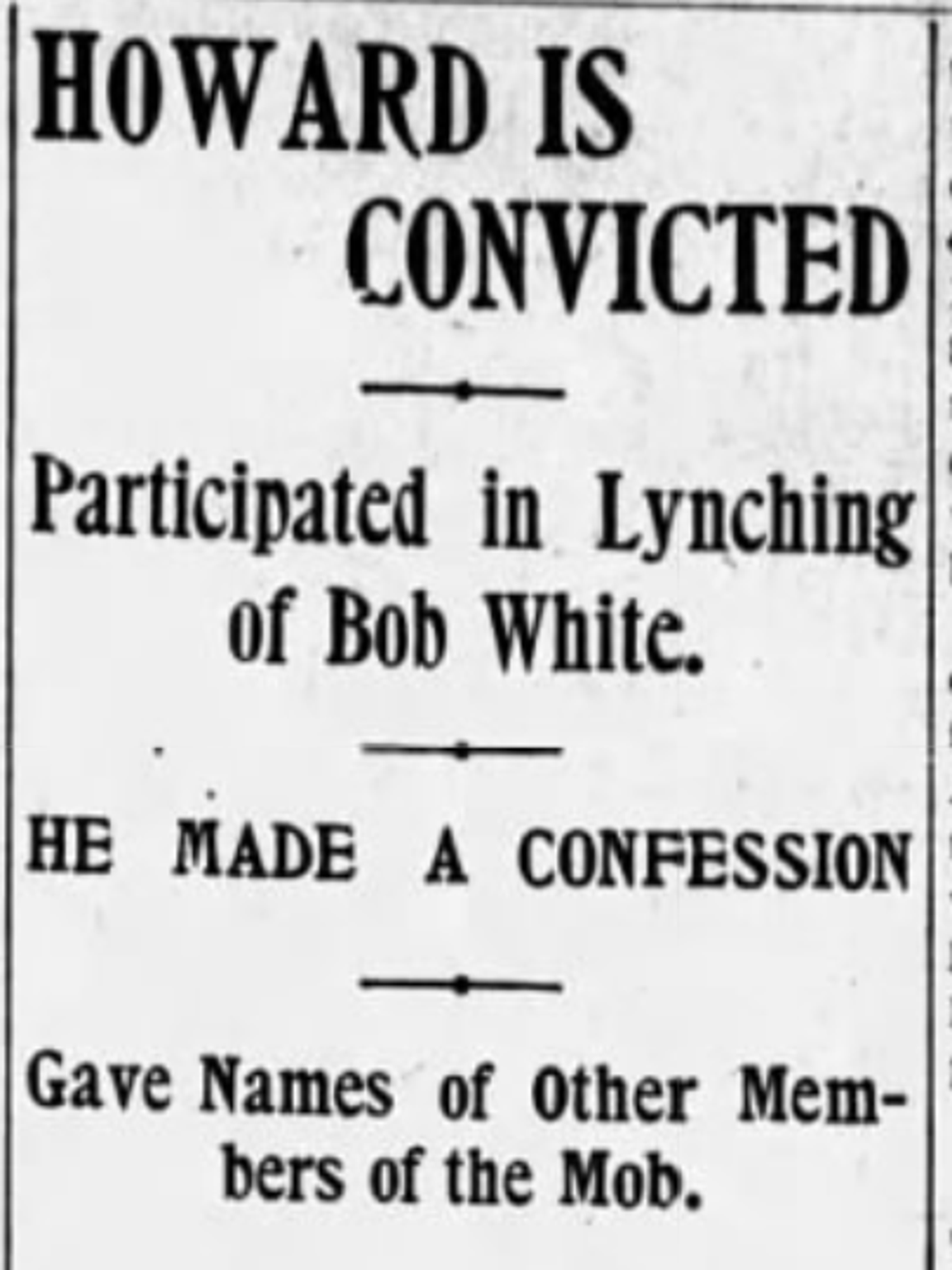 The Montgomery Advertiser headline from August 29, 1901 announcing the conviction of George Howard.