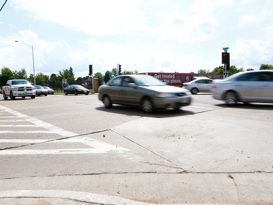 Traffic flows Tuesday afternoon on the intersection