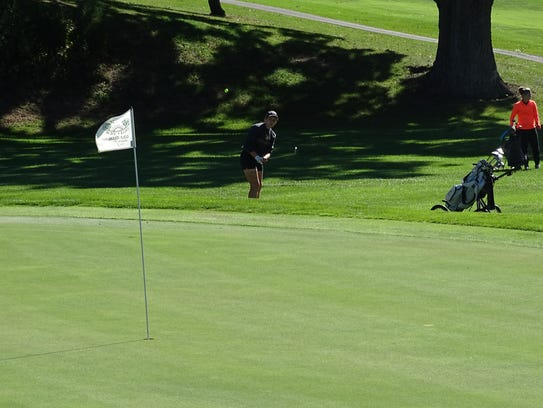 Wynford's Annika Gerlach chips onto the green at the