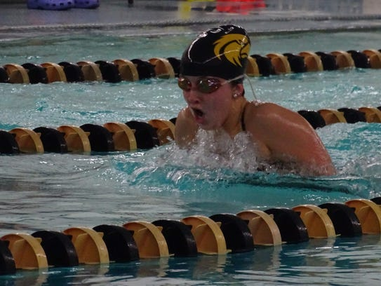 Kennedy Speck during the 100-yard breaststroke, she