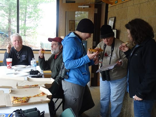 Birders compare notes over lunch during Crawford County's