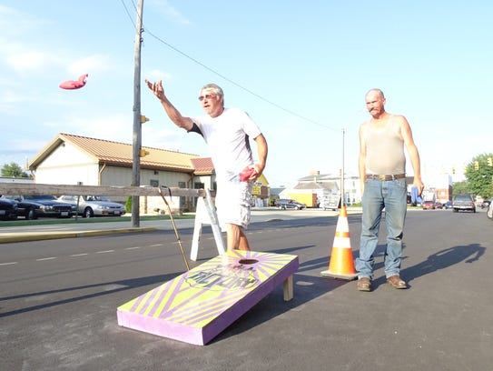 Andy Thoroughman, left, and Roger Clark, both of Bucyrus,