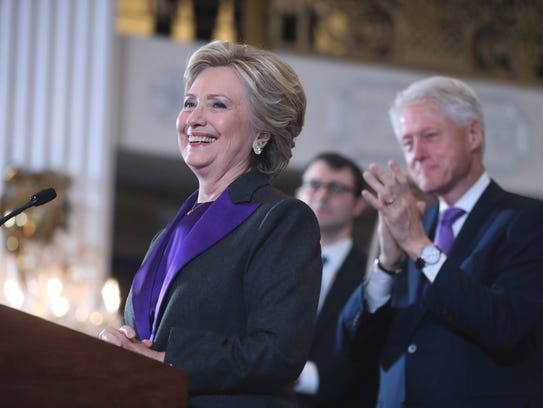 Hillary Clinton speaks in New York on Nov. 9, 2016,