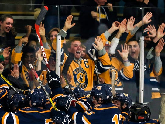 Wausau West fans react after their team defeated SPASH in overtime Thursday at K.B. Willett Arena in Stevens Point.