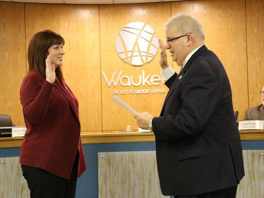 Courtney Clarke is sworn into Waukee City Council.