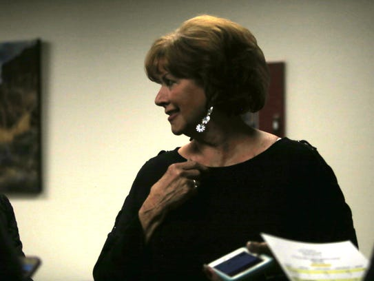 Sue Ann Finch reacts after winning a seat on Bloomfield City Council Tuesday at Bloomfield City Hall.