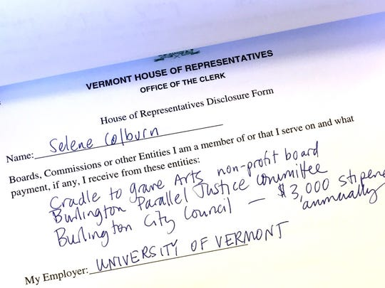 Each member of the Vermont House and Representatives and Senate files a simple disclosure form, such as this one by Rep. Selene Colburn, P-Burlington.