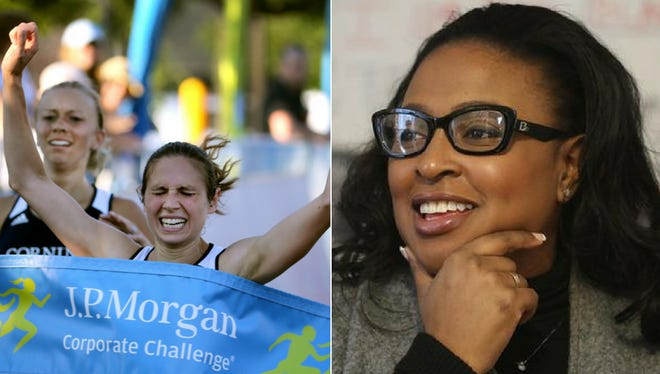 Left: Trisha Byler of Rush won the J.P. Morgan Corporate Challenge Tuesday. Right: Mayor Warren did not participate.