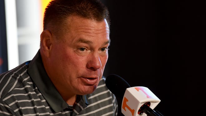 University of Tennessee head football coach Butch Jones comments on the injuries the team has heading into the game against Alabama during a press conference Wednesday, Oct. 12, 2016. (AMY SMOTHERMAN BURGESS/NEWS SENTINEL)