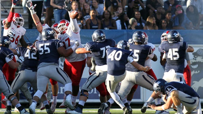"""Wolf Pack kicker Brent Zuzo has struggled this season and could get a """"breather"""" this week."""