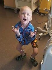 Garrett Matthias, 5, of Van Meter, is pictured in a