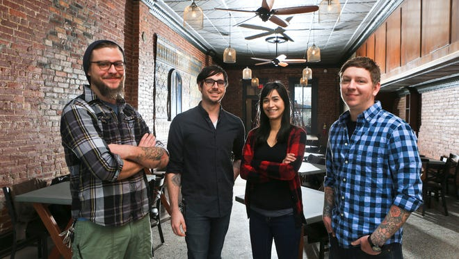 Gospel Bird is a new restaurant and bar opening on East Main Street in New Albany. The establishment's team includes, from left: Chef Ethan Ray, Matthew Farley, beverage manager, Karla Ortega, general manager; and Eric Morris, owner.