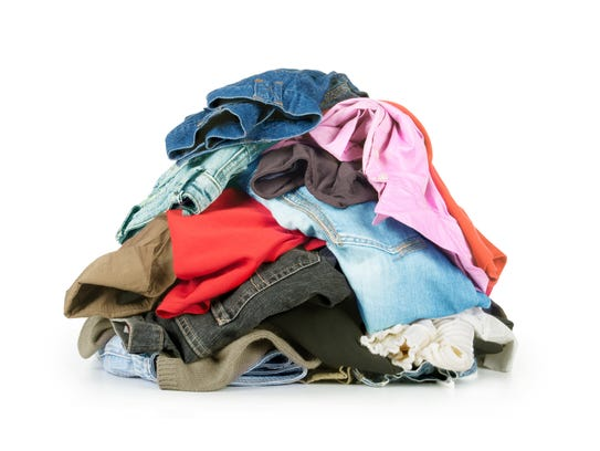 Clothes shouldn't be placed in recycling bins. They