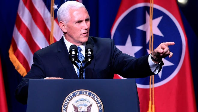 Vice President Mike Pence is scheduled to speak Tuesday at the National Religious Broadcasters' annual convention, which is being held in Nashville.