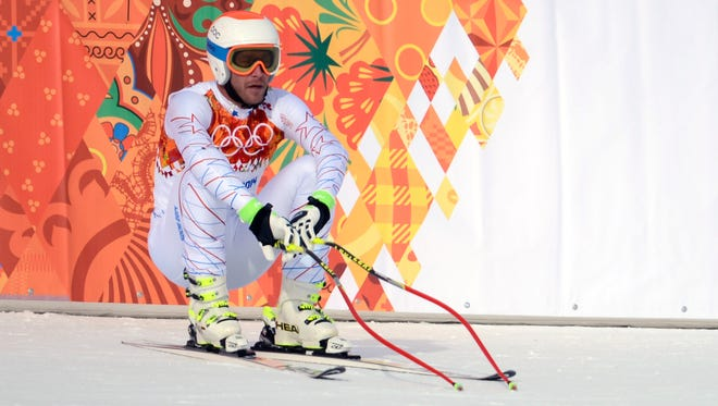 Bode Miller shows his disappointment after the downhill.