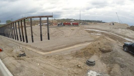 Construction of the Interstate 96 and U.S. 23 interchange continues.