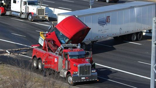 An overturned tractor trailer has shut down all eastbound lanes of Interstate 24 in Rutherford County, according to the Tennessee Department of Transportation.