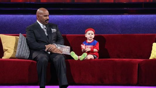 Steve Harvey, left, plus kids equaled ratings gold for the first week of NBC's 'Little Big Shots.'