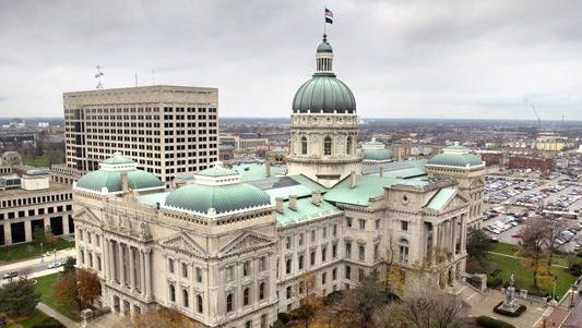 The Indiana State House from the roof of the Capitol One Building.