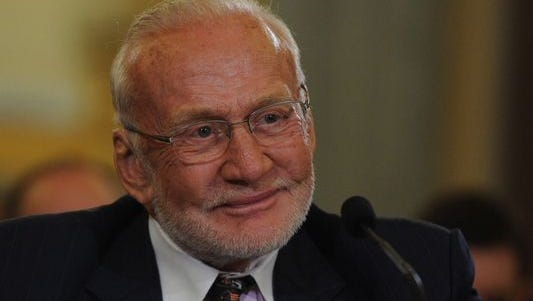 Legendary astronaut Buzz Aldrin is scheduled to fly with the Thunderbird on Sunday, April 2, 2017.