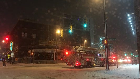 The scene of a reported explosion outside the Veolia Energy Building on Fulton Street East in downtown Grand Rapids.