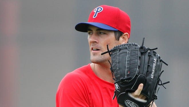 Philadelphia Phillies starting pitcher Cole Hamels (35) works out at Bright House Networks Field.