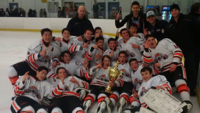 The Tenafly/Cresskill hockey team climbs into the Top 10 after winning the Big North Silver Cup at Ice Vault in Wayne on Friday, Feb. 17, 2017.