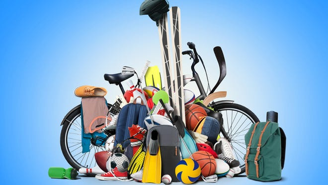 Sports equipment has fallen down in a heap