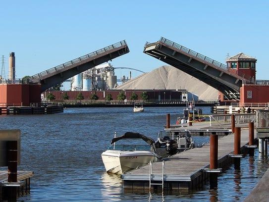 The Ray Nitschke Memorial Bridge is lowered Sunday