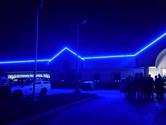 A thin blue light shines at Berlin Township's municipal