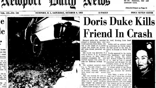 The front page of The Newport Daily News on Oct. 8, 1966, the day after tobacco heiress Doris Duke was involved in a fatal incident at her home at Rough Point on Bellevue Avenue.