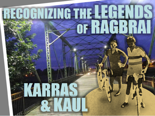 This postcard will be used in a fund-raising campaign to build a statue near the Jackson Street pedestrian bridge in downtown Des Moines to commemorate RAGBRAI cofounders John Karras and Donald Kaul.