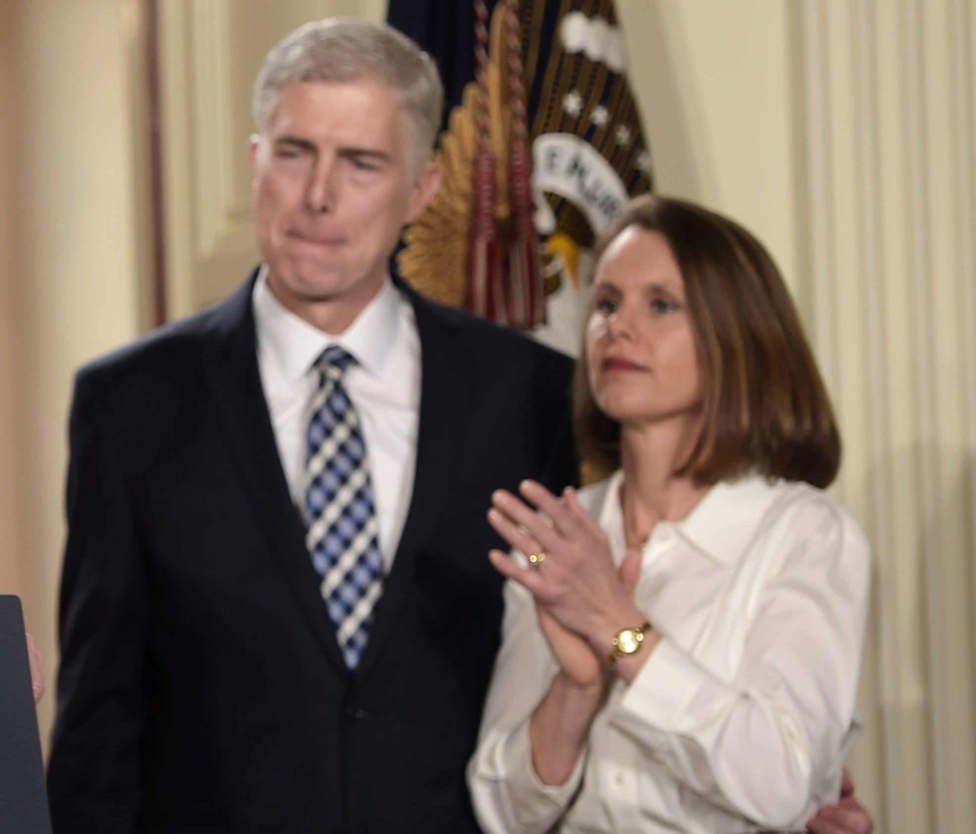 Judge Neil Gorsuch and his wife Marie Louise look on, after President Trump nominated him for the Supreme Court, at the White House on Jan. 31.