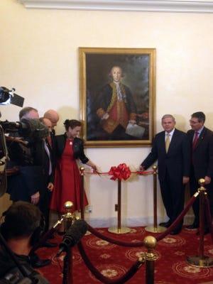 After 231 years, a portrait of Revolutionary War hero Bernardo De Galvez hangs in the U.S. Capitol. Sen. Robert Menendez, D- N.J., right, helps unveil the painting.