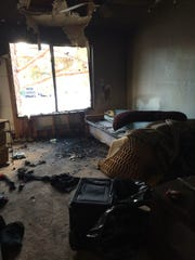 A fire at the Maryland Manor apartment complex Tuesday left one room destroyed by the blaze.