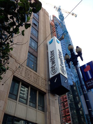 Twitter headquarters on Market Street between 9th and 10th, one block from where a suitcase full of body parts was discovered Jan. 28, 2015.