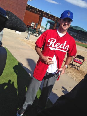 Two-time Masters champion Bubba Watson visited Reds camp on Tuesday.