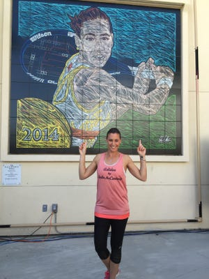 A mural depicting 2014 BNP Paribas Open women's champion Flavia Pennetta was unveiled at the Indian Wells Tennis Garden on Tuesday, March 10, 2015.