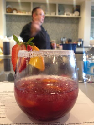A red sangria served at The Kitchenary's cooking demonstration with Coyote Blues Chef Michael Richard.