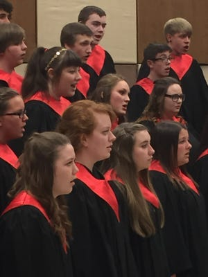 The South Albany High School Rebel Singers prepare to sing at the OSAA Choir State Championships in Newberg.