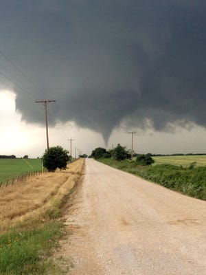 A tornado touches down in Cisco, Texas, on Saturday, May 9, 2015.